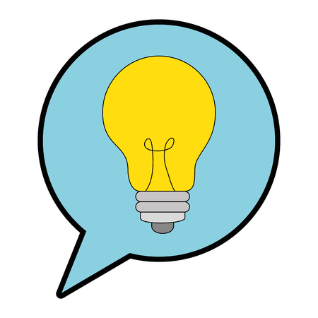 speech bubble with bulb light vector illustration design