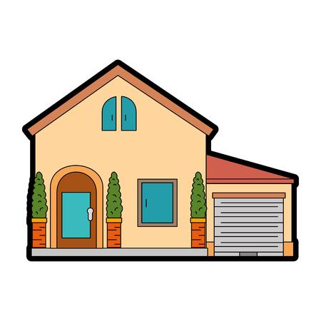 Belle façade de maison vector illustration design Banque d'images - 89855159