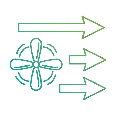 ventilator met het pijlen geïsoleerde ontwerp van de pictogram vectorillustratie Stock Illustratie