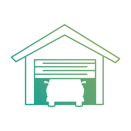 garage with car isolated icon vector illustration design