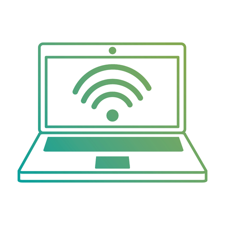 laptop computer with wifi signal vector illustration design Ilustração