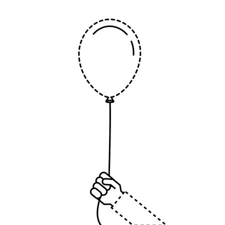 Homem segurando na mão um balão em uma ilustração vetorial fita Foto de archivo - 89856927