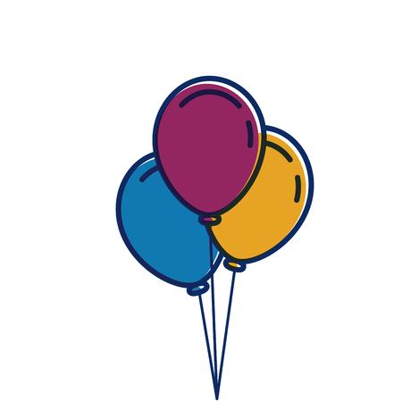 3 風船膨らませてパーティー装飾ベクトル図 写真素材 - 89879051