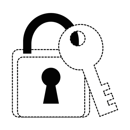 safe padlock with key vector illustration design Stock Vector - 89879254