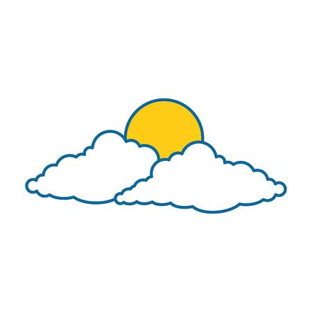 cloud sky silhouette with sun vector illustration design Illustration