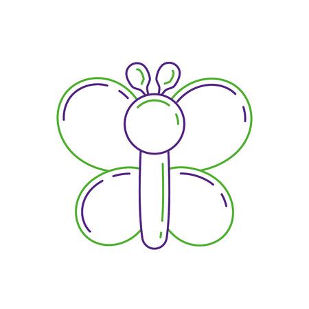 面白い膨脹可能な形の風船蝶動物のベクトル図