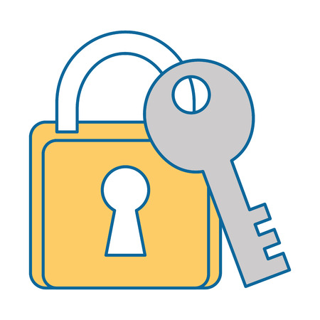 safe padlock with key vector illustration design Stock Vector - 89879540