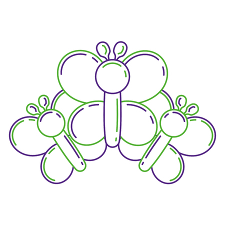 balloons shaped three butterfly decoration festival vector illustration