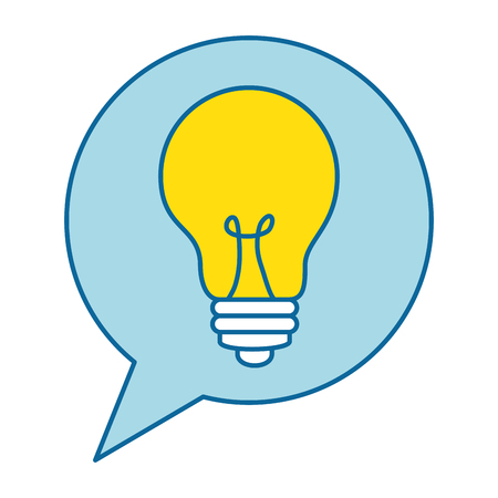 speech bubble with bulb light vector illustration design
