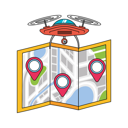 drone flying technology with paper map gps navigation vector illustration