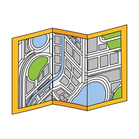 folded map city navigation location symbol vector illustration