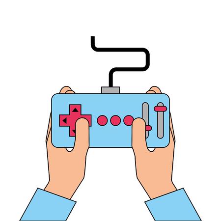 hands holding control remote advance for drones vector illustration Ilustração Vetorial