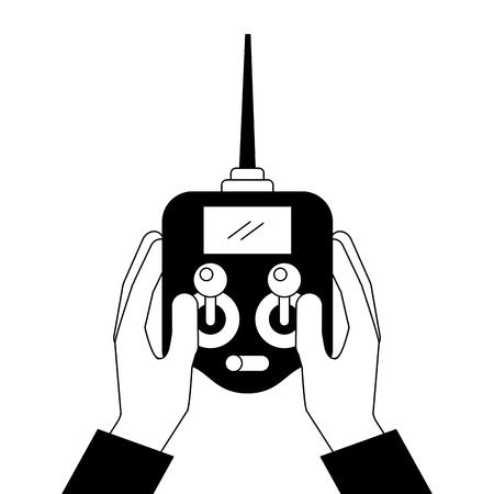 Mãos segurando controle avançado remoto para drones com ilustração vetorial de tela Foto de archivo - 89861929