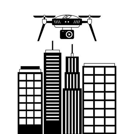 drone with camera flying on city landscape buildings vector illustration
