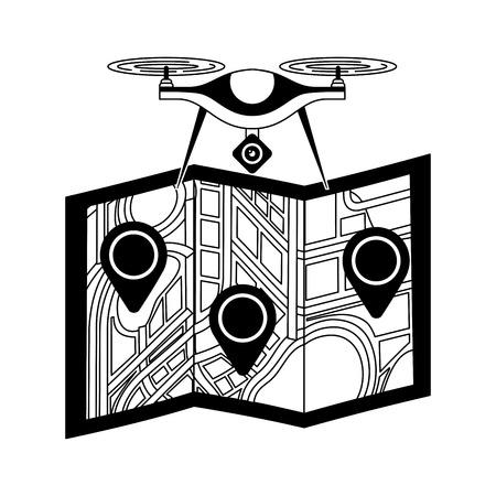 종이지도 gps 탐색 벡터 일러스트와 비행 기술 무인 항공기