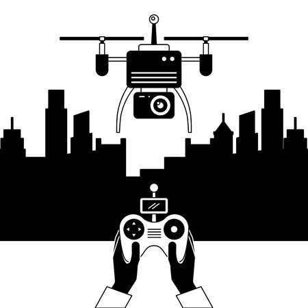 city landscape and people handle remote control with drone vector illustration