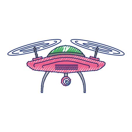Drone antena câmera remoto hélice dispositivo ilustração vetorial Foto de archivo - 89879708