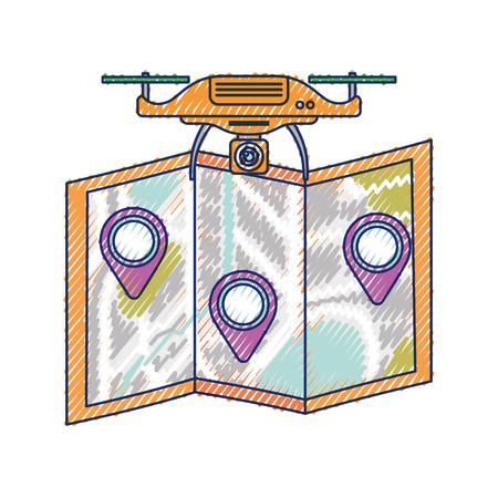 Drohnenflugtechnologie mit Papierkarte gps-Navigationsvektorillustration Standard-Bild - 89869320