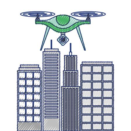 Drohne mit Kamera auf Stadtlandschaft Gebäude Vektor-Illustration fliegen Standard-Bild - 89869322