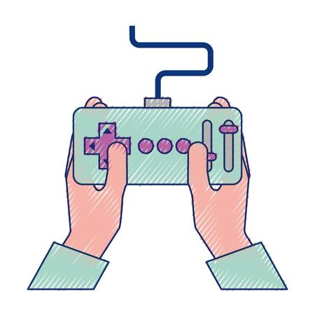Manos sosteniendo control avance remoto para ilustración de vector de drones Foto de archivo - 89869240