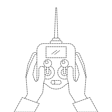 hands holding control remote advance for drones with screen vector illustration