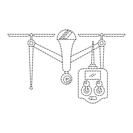 원격 제어 장치 기술 설계 벡터 일러스트와 함께 드론 일러스트
