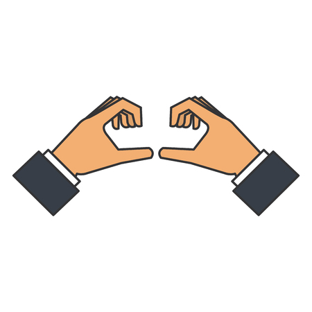 Mãos formando um design de ilustração de vetor de coração Foto de archivo - 89885985