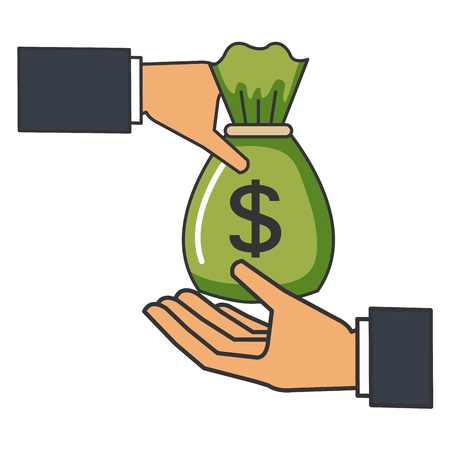 hand with money bag isolated icon vector illustration design