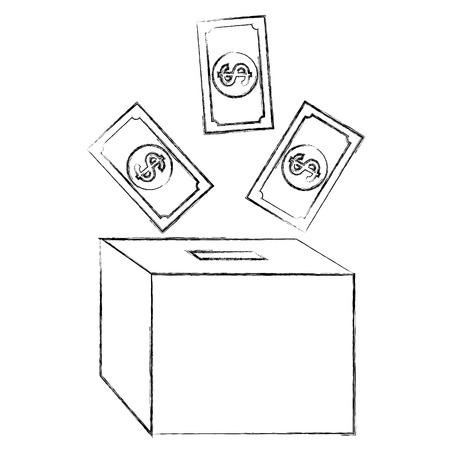 savings box with bills vector illustration design