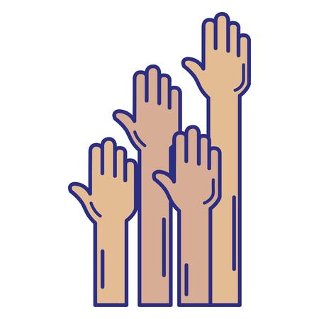 Manos humanas hasta diseño de ilustración de vector de icono Foto de archivo - 89886163