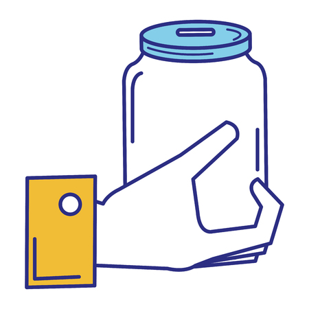 hand with glass jar isolated icon vector illustration design Banco de Imagens - 89884836