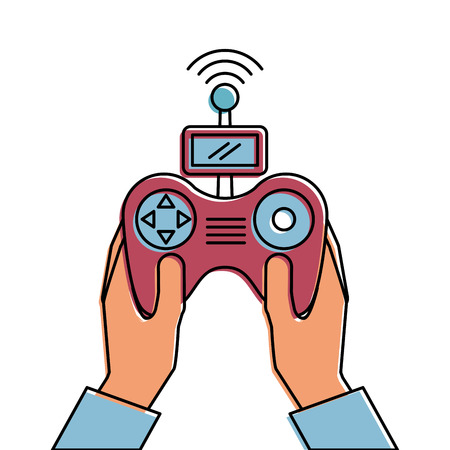 hands holding control remote advance for drones vector illustration