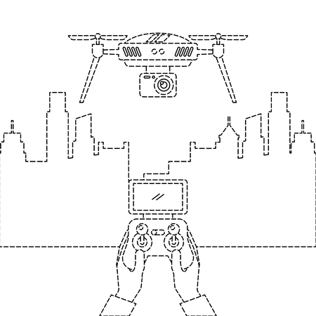 Stadtlandschaft und Leute behandeln Fernbedienung mit Drohnenvektorillustration Standard-Bild - 89886273