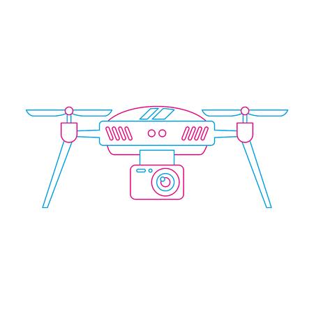 drone aerial camera remote propeller device vector illustration Çizim