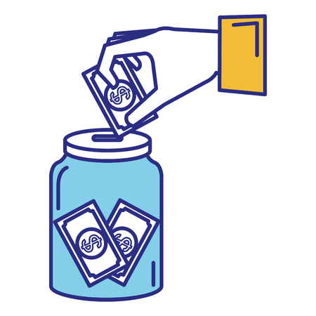 hand saver with glass jar and bills money vector illustration design Stock fotó - 89886324