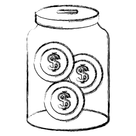 glass jar with coins money vector illustration design Illusztráció