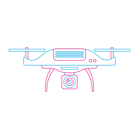 drone aerial camera remote propeller device vector illustration Ilustração