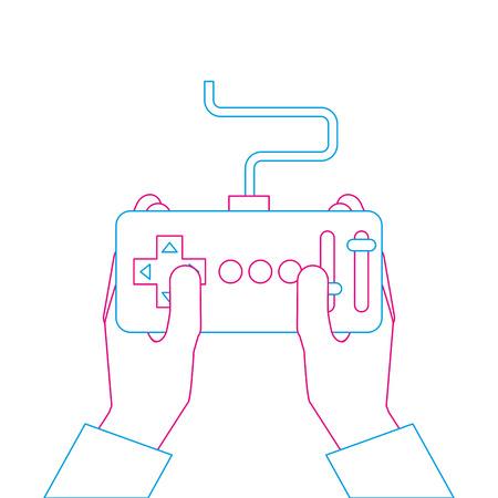 handen met controle externe vooruitgang voor drones vectorillustratie