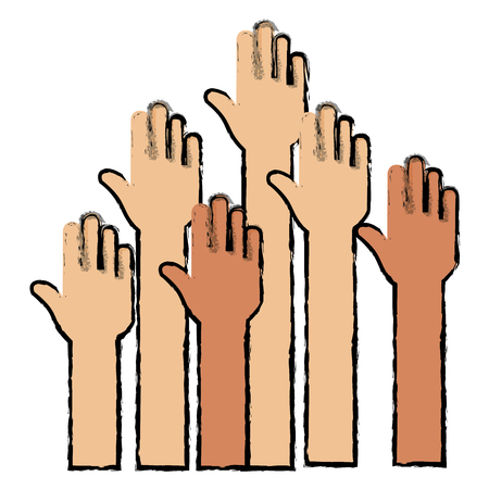 Hands up icon vector illustration design Foto de archivo - 89886390