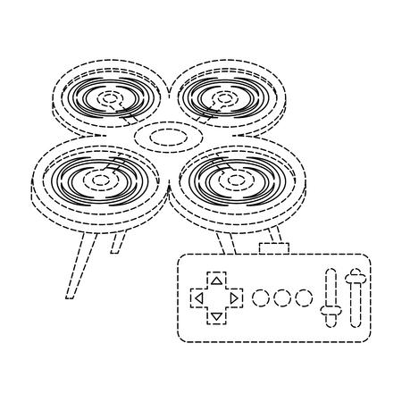원격 제어 장치 기술 설계와 무인 항공기 벡터 일러스트 레이션