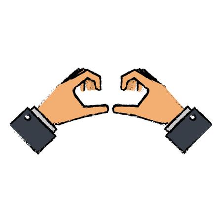 Manos formando un diseño de ilustración vectorial del corazón Foto de archivo - 89886416