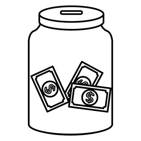 glass jar with bills money vector illustration design 向量圖像