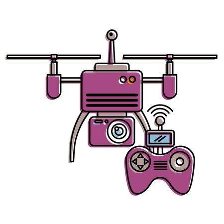 drone met afstandsbediening apparaat technologieën ontwerp vectorillustratie