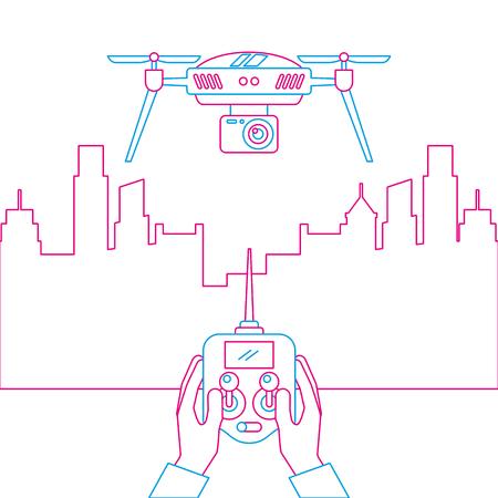 Stadtlandschaft und Leute behandeln Fernbedienung mit Drohnenvektorillustration Standard-Bild - 89886877