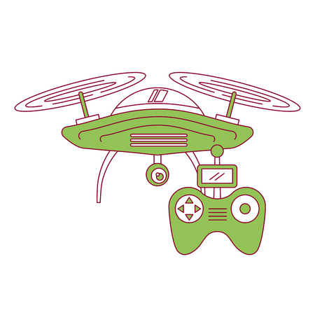 drone with remote control device technologies design vector illustration