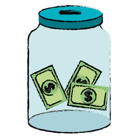 glass jar with bills money vector illustration design Illusztráció