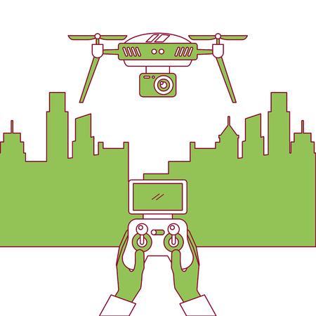 도시 풍경과 사람들이 무인 항공기 벡터 일러스트와 함께 원격 제어 처리