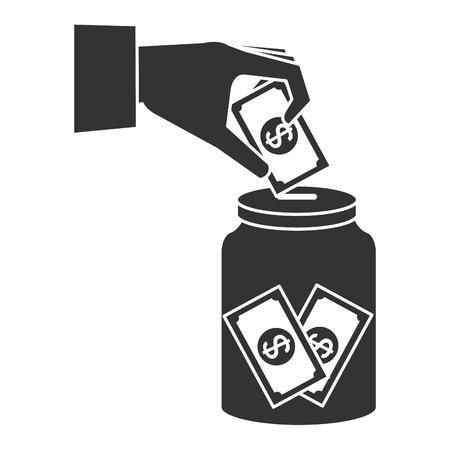 hand saver with glass jar and bills money vector illustration design