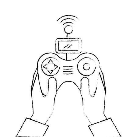 handen met controle externe vooruitgang voor drones met scherm vectorillustratie