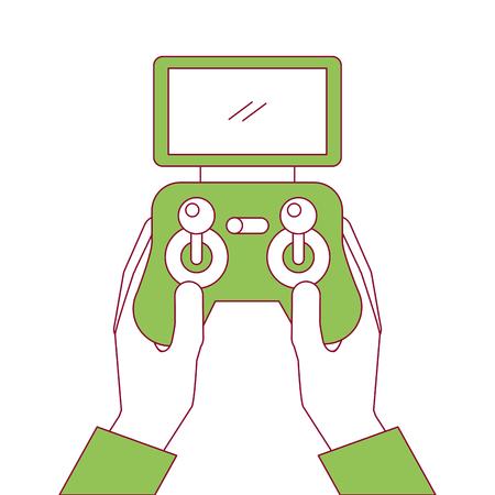 hands holding control remote advance for drones with screen vector illustration Ilustração Vetorial